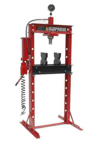 20t shop press, manually and pneumatic, screwed frame, red, 00012