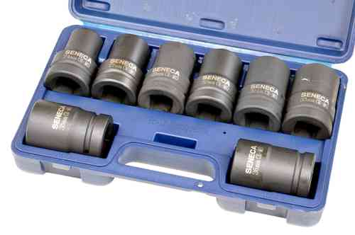 "1"" socket box, impact wrench, blue case, Cr-Mo, 8 pieces, 00371"