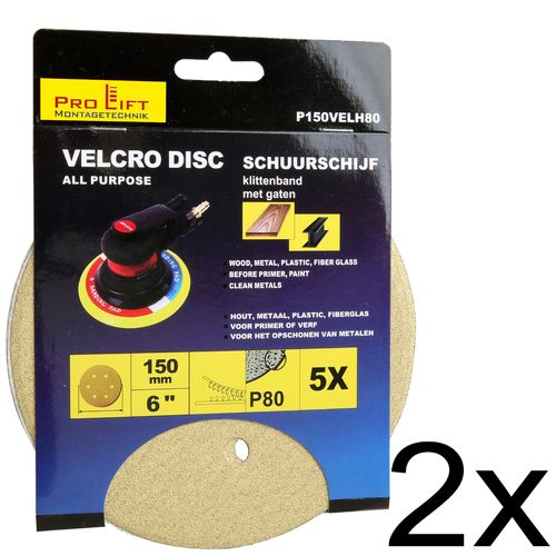 Sanding pads, 10 pieces, 150 mm diameter with dust extraction holes, hook and loop fastener, 00685