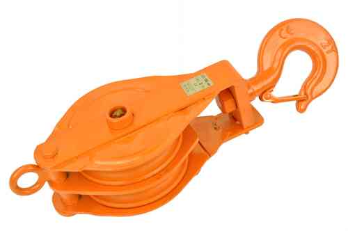 Double sheave snatch block, 2000kg, orange, 00736