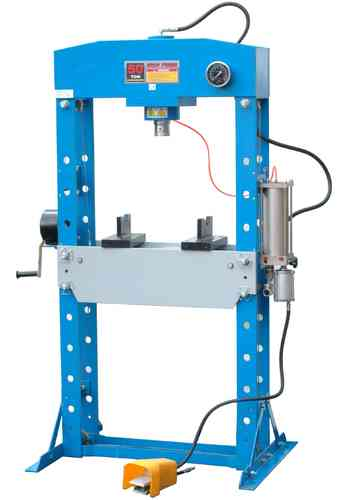 50t shop press, manually and pneumatic, blue, welded frame, 00760