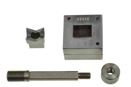Rectangular sheet metal punch and die, 22mm x 30mm, draw stud + nut, 00803