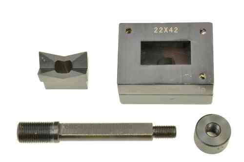 Rectangular sheet metal punch and die, 22mm x 42mm, draw stud + nut, 00804