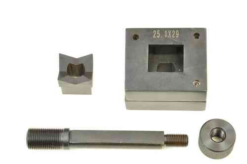 Rectangular sheet metal punch and die, 25.1mm x 29mm, draw stud + nut, 00805