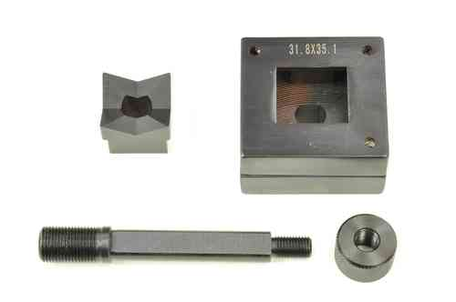 Rectangular sheet metal punch and die, 31.8mm x 35.1mm, draw stud + nut, 00806