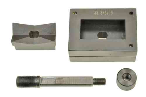 Rectangular sheet metal punch and die, 33.3mm x 67.9mm, draw stud + nut, 00807