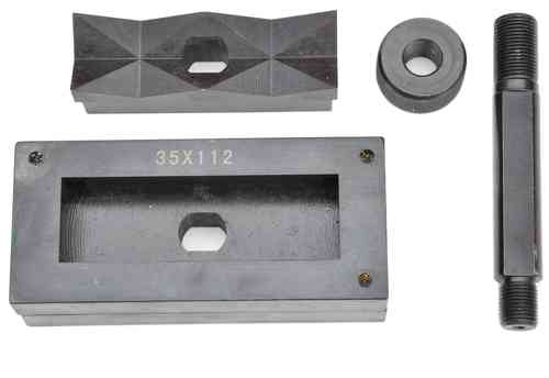 Rectangular sheet metal punch and die, 35mm x 112mm, draw stud + nut, 00808