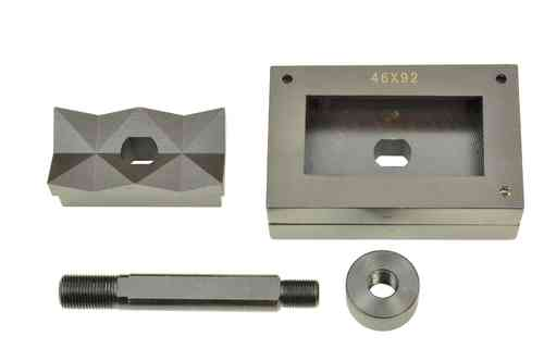 Rectangular sheet metal punch and die, 46mm x 92mm, draw stud + nut, 00809