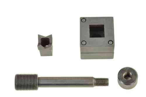 Square sheet metal punch and die, 19.1mm x 19.1mm, draw stud + nut, 00793