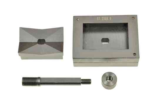 Rectangular sheet metal punch and die, 57.2mm x 88.9mm, draw stud + nut, 00810
