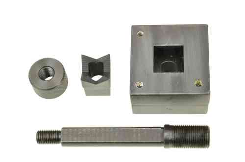Square sheet metal punch and die, 25.4mm x 25.4mm draw stud + nut, 00795