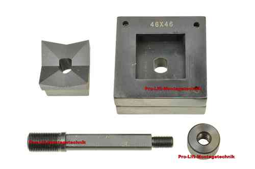 Square sheet metal punch and die, 46mm x 46mm, draw stud + nut, 00797