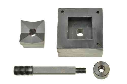 Square sheet metal punch and die, 50.8mm x 50.8mm, draw stud + nut, 00798