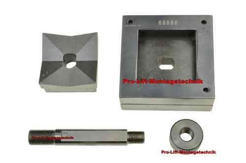 Square sheet metal punch and die, 68mm x 68mm, draw stud + nut, 00800