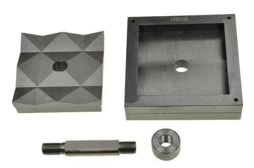 Square sheet metal punch and die, 138mm x 138mm, draw stud + nut, 00801