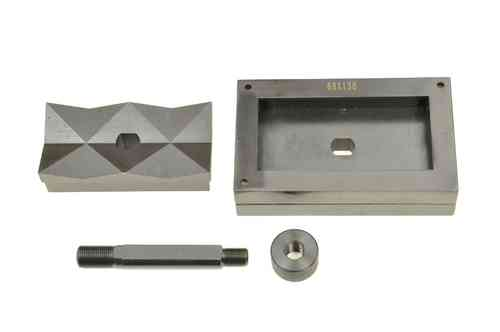 Rectangular sheet metal punch and die, 68mm x 138mm, draw stud + nut, 00811