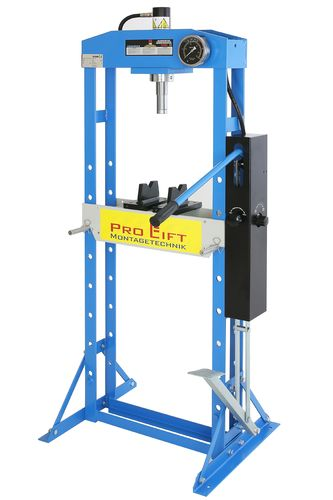 15t shop press, manually and foot pedal, welded frame, blue, 00848