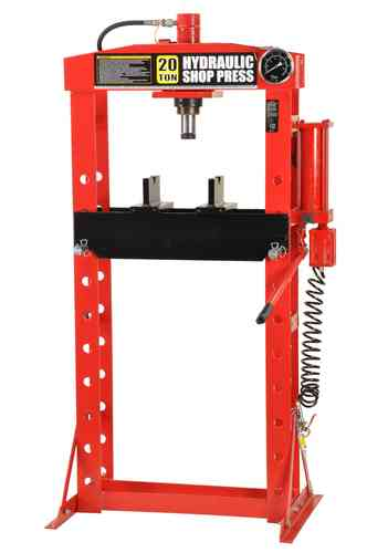 20t shop press, manually and pneumatic, welded frame, red, T, 00915