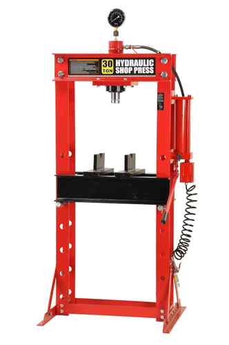 30t shop press, manually and pneumatic, welded frame, red, T, 00917