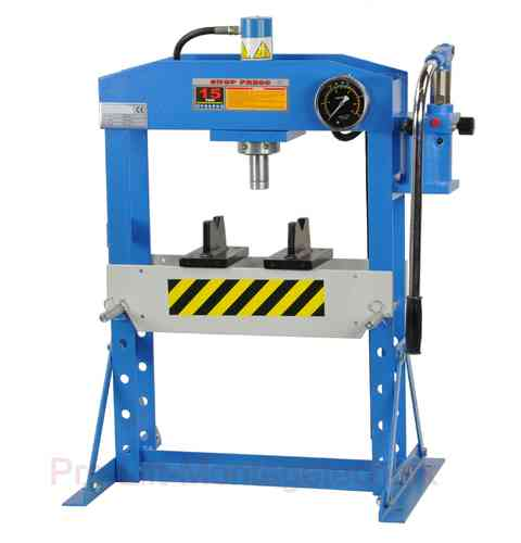 15t shop press, manually, blue, welded frame, max. height, 960mm, 00922