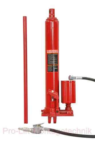 8t hydraulic cylinder, manual and pneumatic drive, stroke 485mm, red, T, 00923