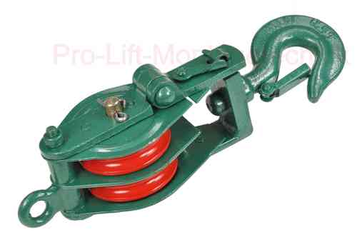 Double sheave snatch block, 500 kg, green, J, 00959