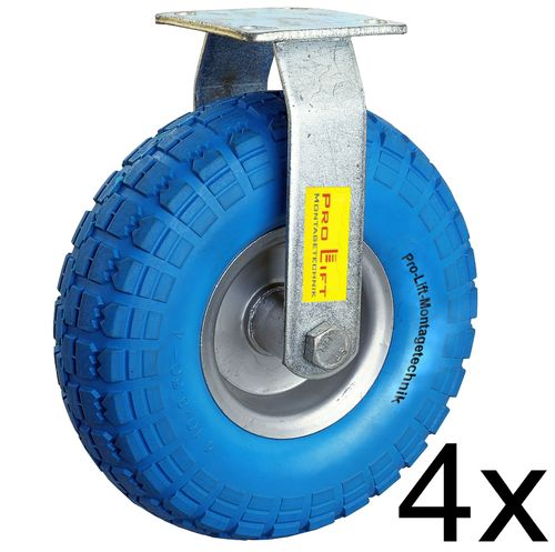 4 fixed castors, 110kg each, blue solid rubber, 01009