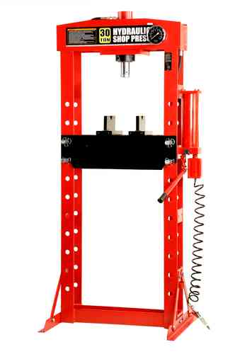 30t shop press, manually and pneumatic, welded frame, red, T, 01156