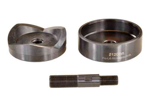 Round sheet metal punch and die, 120 mm diameter, with draw stud, 01318