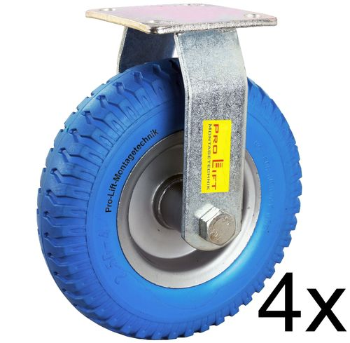 4 fixed castors, 80kg each, blue solid rubber, 01319