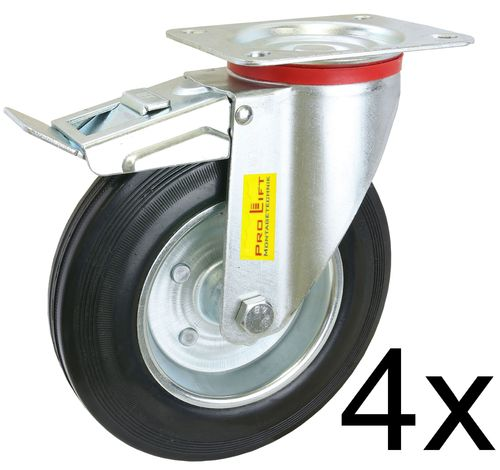 4 pieces swivel castors, 210kg each, with brake, rubber coated, 01354