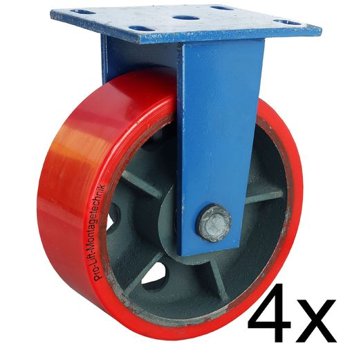 4 fixed castors, heavy duty castors, 1800 kg each, PU coated, 01359