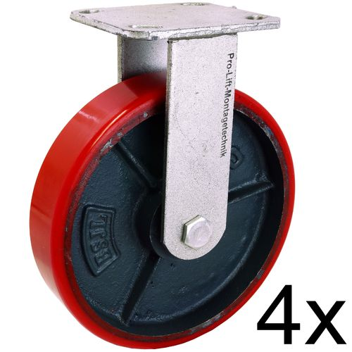 4 fixed castors, heavy duty castors, 350 kg each, PU coated, 01361