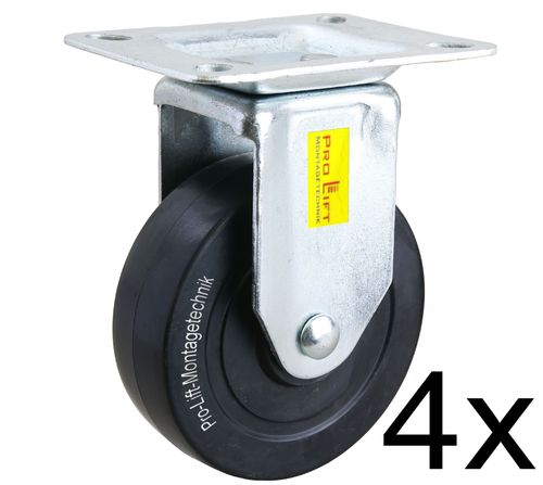 4 fixed castors, heavy duty castors, 100kg each, rubber coated, 01368