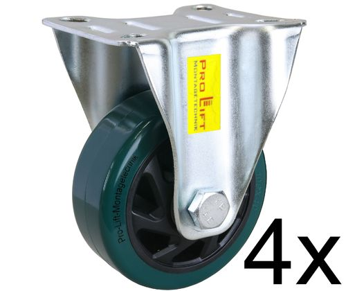 4 fixed castors, heavy duty castors, 160kg each, PU coated, 01387