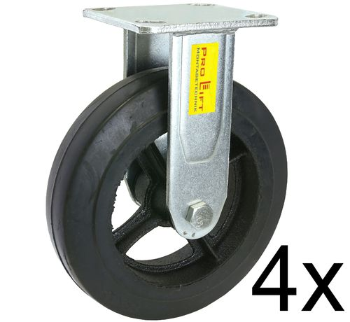 4 fixed castors, heavy duty castors, 270kg each, rubber coated, 01389