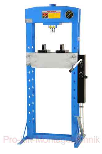 30t shop press, manually and foot pedal, welded frame, blue, 00920