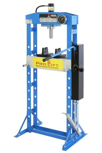 20t shop press, manually and foot pedal, welded frame, blue, 00921