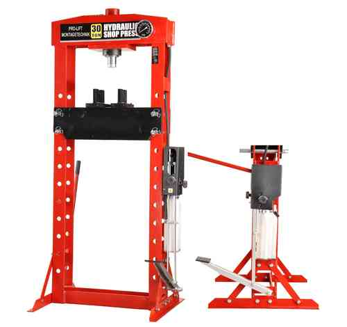 30t shop press, manually and foot pedal, welded frame, red, 01436