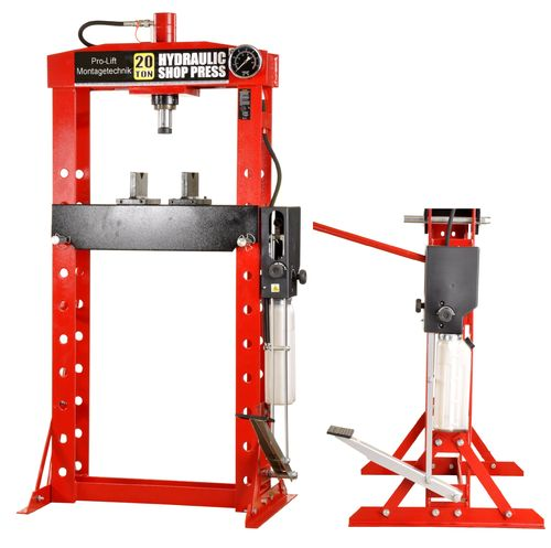 20t shop press, manually and foot pedal, welded frame, red, 01338