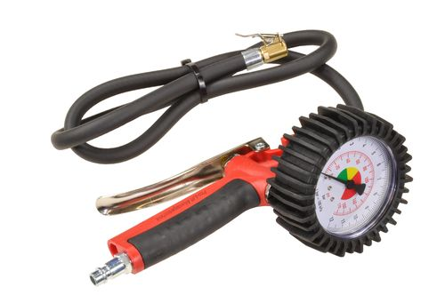 0-12bar professional tyre inflating gun with 100cm hose, red, J, 01526