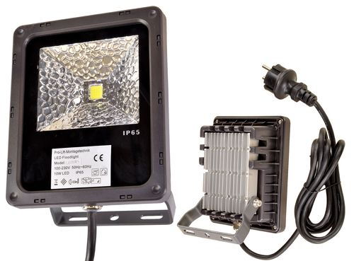 230V LED flood light, 10W, continuous white light, LB09W, 01578