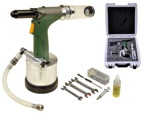 Professional compressed air pop rivet gun, with collecting bin, J6019, 01657