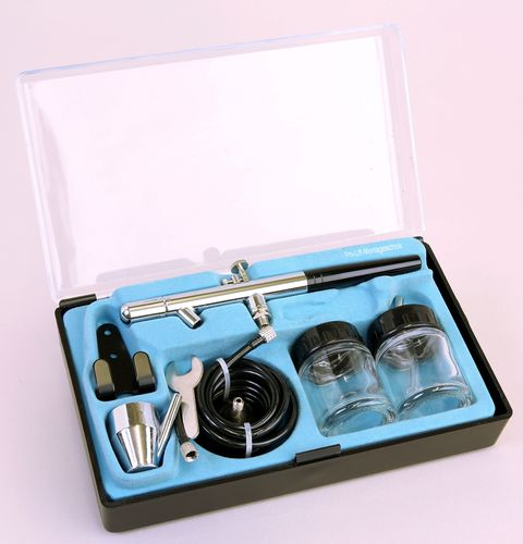 Airbrush Spritzpistolen-Set 8-teilig Double-Action Becher 22ml , Düse 0,35mm , BD-128 , 01784