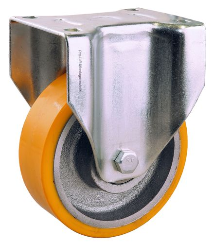 1 piece: 500 kg fixed castor, 150 mm diameter, PU coated, M, 01929
