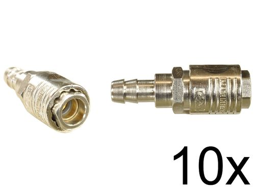 "10 pieces: 1/4"" quick coupling with ball bearing: Female and spout for 10mm hose, 112C31S, 01995"