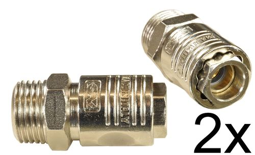"2 pieces 1/4"" quick coupling with ball bearings, female and 1/2"" external thread, 11231S, 00232"
