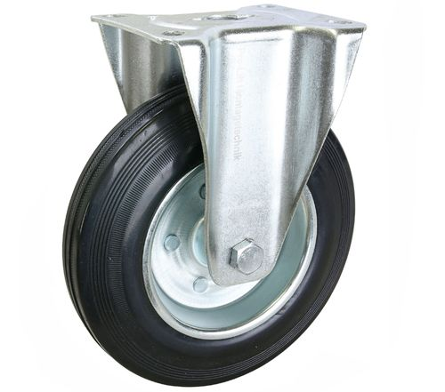 1 piece: 210 kg fixed castor, 200 mm diameter, rubber coated, WE200RFJ, 2046