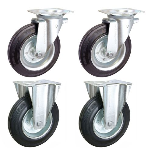 4 pieces: heavy duty castors, 210 kg each, 2 swivel + 2 fixed, 200 mm diam., rubber coated, J, 02048