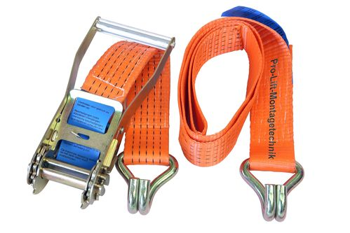 2500kg/5000kg lashing strap, 2 pieces, length 2m, with hook, orange, CL0502J, 02117